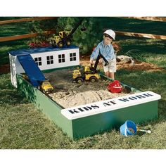 This cute sandbox would be easy to cover & I love the ramp!