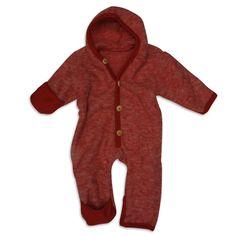 Cosilana Baby Overall mit Kapuze und Umschlägen zum Verschließen an Arm und Bein, Größe 62/68, Farbe Rot melange, 100% Schurwolle kbT, Holzknöpfe