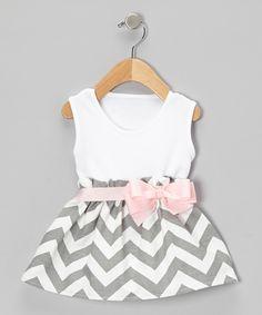 Caught Ya Lookin' Gray Zigzag Bow Dress - Infant by Caught Ya Lookin' #zulily #zulilyfinds