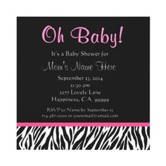 Trendy square shaped zebra baby shower invitation in black and white with pink accents