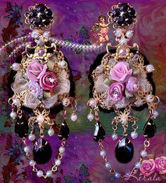 Black Swarovski Crystal Rose Chandelier Earrings Gold by kerala, $68.00