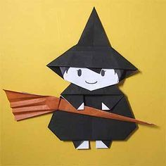 DIAGRAMA - How to fold the Halloween witch and broom in origami! Origami Halloween, Christmas Origami, Halloween Crafts For Kids, Paper Crafts For Kids, Halloween Witches, Origami Star Box, Origami And Kirigami, Origami Stars, Halloween