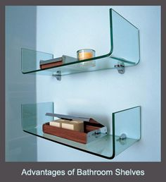 These curved glass shelves by Adatto Casa are an ultra-modern and stylish way to store toiletries in the bathroom. Glass Bathroom Cabinet, Glass Shelves In Bathroom, Bathroom Shelf Decor, Floating Glass Shelves, Tempered Glass Shelves, Bathroom Furniture, Bathroom Wall, Bathroom Interior, Bathroom Cabinets