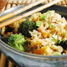 Stir-frying rice is a great way to turn leftover rice into a quick and easy meal. It's important that the rice is cold so it won't become sticky while cooking; the oil coats the chilled grains and prevents clumping.