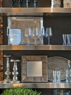 This is from the HGTV Dream Home 2014. I love how they staged these shelves!
