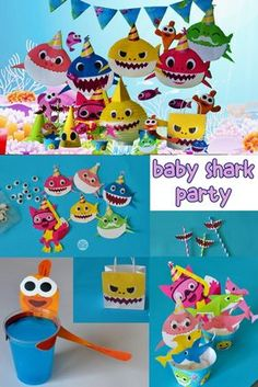 diy baby shark song party decoration decor crafts under the sea kids party ideas pinkfong doo doo printable printable party supplies Baby Shark Song, Baby Shark Doo Doo, Shark Party Decorations, Birthday Party Decorations, Boy Birthday Parties, Baby Birthday, Birthday Ideas, Shark Party Supplies, Sharks
