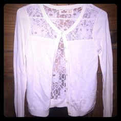 Lace cardigan Back is lace and see through, beautiful light cardigan. In perfect condition Hollister Other