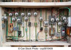 Stock Photo - electric meter messy electrical wiring installation - stock image, images, royalty free photo, stock photos, stock photograph, stock photographs, picture, pictures, graphic, graphics
