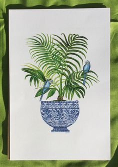 Chinoiserie Palm Tree in a blue and white china pot print