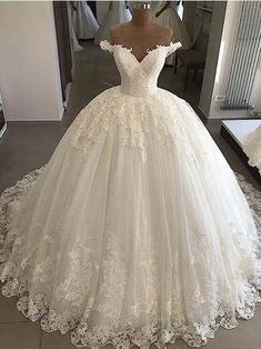 Dec 2019 - Luxury Puffy Wedding Dresses Lace Applique White Ball Gown Bridal Gown Ivory Corset Bride Dress sold by KProm on Storenvy Puffy Wedding Dresses, Lace Wedding Dress With Sleeves, V Neck Wedding Dress, Wedding Dresses Plus Size, Dream Wedding Dresses, Bridal Dresses, Wedding Gowns, Beaded Dresses, Tulle Wedding