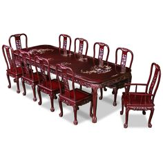 114in Rosewood Queen Ann Grape Motif Dining Table with 10 Chairs. Elaborate hand carved organic patterns add additional appeal. Dark cherry finish. Oriental Rosewood dining set.
