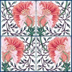 Poppy Tile designed by Wm. Morris, 1870s