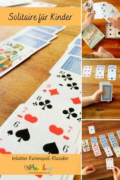 Patience bzw. Solitaire ist ein toller Spielklassiker mit Karten, den auch Kinder problemlos spielen können. Das Beste: Das Kartenspiel fördert die Geduld und die Konzentration und kann alleine gespielt werden. Wir erklären euch, nach welchen Regeln man Patience oder Solitaire spielt. #Patience #Solitaire #DieAngelones Solitaire, Apps, Playing Cards, Board Games, Media Literacy, Harp, Learn To Read, Playing Card Games, App