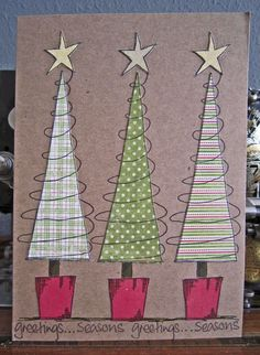 handmade Christmas card from Jo Firth-Young ... luv the warm country feel of kraft cards ... triangle trees in different green, white and red patterns ... luv it!!