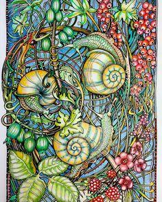 Escargot ... I always enjoy adding color to #irinavinnik art #manicbotanic…