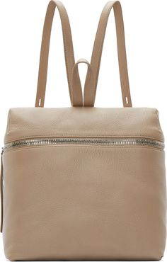 Kara - Taupe Pebbled Leather Backpack