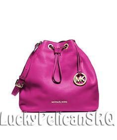 Michael Kors Jules Large Drawstring Shoulder Bag Handbag Raspberry Pink NWT   MichaelKors  ShoulderBag Cheap f3cfc0468c98