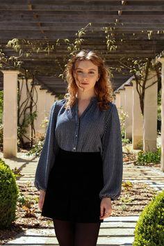 Zara blue stripe blouse and corduroy skirt, The Twins Wardrobe
