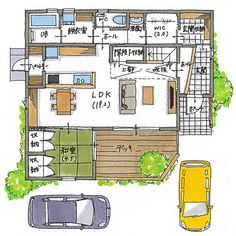 House Layout Plans, House Layouts, House Plans, Asian Design, Room Planning, Japanese House, Entrance, Living Spaces, Floor Plans