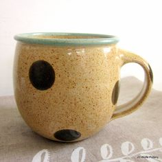 handmade coffee mug  polka dotted  10 oz  made by JDWolfePottery