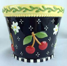 Mary Engelbreit Red Cherries Daisies Black White Yellow Planter Bowl Container #MaryEngelbreit #Cherries