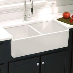 Highpoint Collection Double Bowl Fireclay Farmhouse Sink - Free Shipping Today - Overstock.com - 15708159 - Mobile