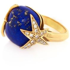 Alexandra Alberta  - Starry Night Ring ($1,965) ❤ liked on Polyvore featuring jewelry, rings, star ring, polish jewelry, velvet jewelry, star jewelry and 18 karat gold jewelry