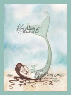My Little Love Mermaid Print from Original by camillioncreations