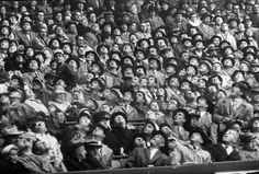 Fans at opening day of baseball, Milwaukee, 1957.