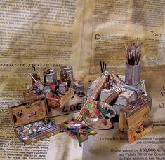 Harry Potter Miniatures, Artist Workshop, Vitrine Miniature, Doll Clothes Barbie, Mini Craft, Miniature Crafts, Mini Things, Minis, Space Crafts