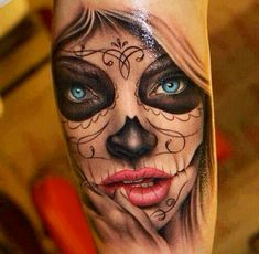 What does mexican tattoo mean? We have mexican tattoo ideas, designs, symbolism and we explain the meaning behind the tattoo. Skull Candy Tattoo, Mexican Skull Tattoos, Sugar Skull Girl Tattoo, Candy Skulls, Sugar Tattoo, Tattoo Girls, Tattoo Women, Girl Tattoos, Tattoos For Women