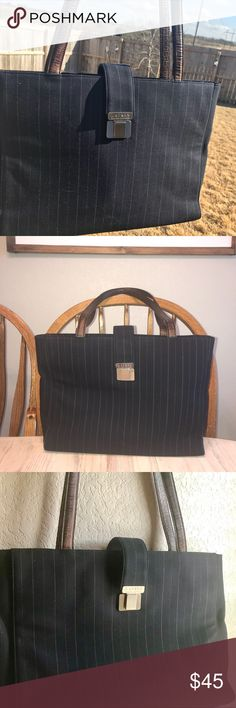 """Ralph Lauren Navy Tote Navy pinstriped tote In great condition  Brown leather straps Super clean inside and out  11"""" tall 16"""" Wide Lauren Ralph Lauren Bags Totes"""