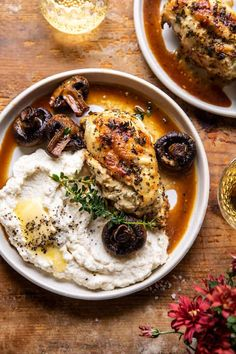Ricotta Stuffed Chicken, White Wine Chicken, Jai Faim, Cooking Recipes, Healthy Recipes, Fancy Recipes, Gourmet Dinner Recipes, Keto Recipes, Oven Roasted Chicken