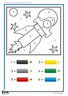 Simple colour by numbers pictures with clear visuals. Fish and Seahorse activities use four colours. Rocket and car activities use six colours. For toddlers and preschool teaching activity Space Activities, Toddler Activities, Learning Activities, Kids Learning, Teaching Resources, Learning Spanish, Space Preschool, Preschool Worksheets, Preschool Activities