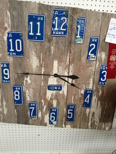License plates recycled into a clock.