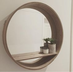 42 Popular Bathroom Mirror Design For Any Bathroom Model - Home Design Bathroom Mirror With Shelf, Bathroom Mirror Design, Round Wall Mirror, Round Mirrors, Bathroom Mirrors, Kmart Bathroom, Circle Mirrors, Mirror Bedroom, Wooden Bathroom