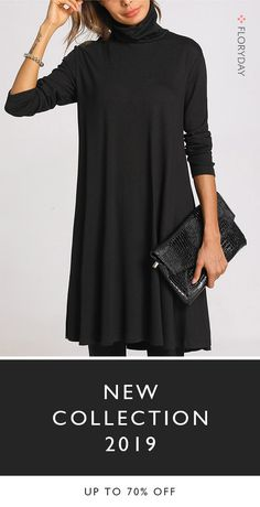 Solid High Neckline Knee-Length Dress - How To Be Trendy Fashion Over, Look Fashion, Womens Fashion, Fashion Trends, Fall Fashion, Fall Outfits, Casual Outfits, Cute Outfits, Casual Attire