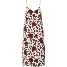 GANNI Elmira floral-print silk crepe de chine dress ($230) ❤ liked on Polyvore featuring dresses, claret, long flower dress, silk dress, long slip dress, pink flower dress and slip dress