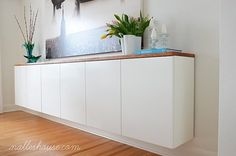 A gorgeous floating storage credenza is such a sleek and modern look to add to any room. Small Space Living: 9 Stylish, Space-Saving & Functional Floating DIY Projects