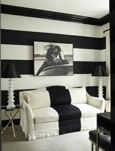 Image result for black and white striped walls