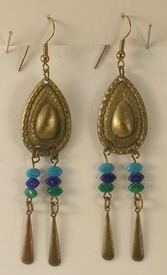 Hand Crafted Brassy Metal & Colored Beads Long Pierced Earrings on French Wires Hippie Style by JohnGermaine on Etsy