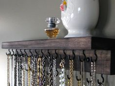 Necklace Organizer Storage by BlackForestCottage on Etsy, $29.00