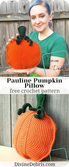 Learn to make a fun bit of Fall home decor with the Pauline Pumpkin Pillow, an easy amigurumi, free crochet pattern by DivineDebris.com
