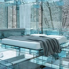 home made entirely of glass; designed by Milan based design firm, Santambrogio. Definitely no stone throwing allowed!
