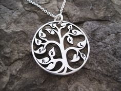 Family Tree Necklace Sterling Silver Family by WearableWhispers