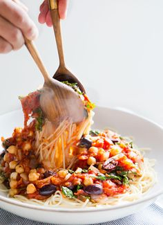 Mediterranean Pasta: the perfect indulgence for a cold winter night (gf, vegan).