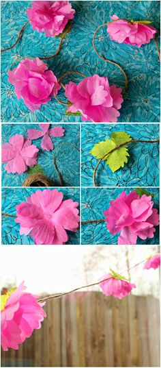 DIY ● Tutorial ● crepe paper flower garland