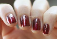 red and gold glitter gradient nail art for short nails- finally a tutorial!