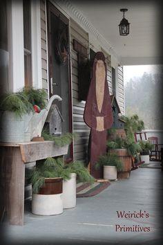 photo of primitive porches - Yahoo Search Results Primitive Christmas Decorating, Primitive Country Christmas, Country Christmas Decorations, Christmas Porch, Prim Christmas, Outdoor Christmas, Winter Christmas, Christmas Holidays, Xmas
