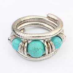 Rebel Blue Beads Decorated Multilayer Design Alloy Fashion Bangles :Asujewelry.com